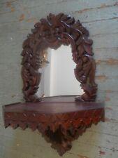 Vintage wood wall shelf mirror