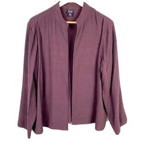 Eileen Fisher burgundy purple stripe silk open front blazer jacket size XL