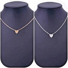 """Silver or Gold Plated Small Flat Heart Pendant Necklace 18""""-20"""" Great Gift"""