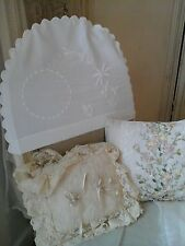 Antique Baby Sham/Cushion/Chair Back Cover-Trousseau Whitework/Floral Embroidery