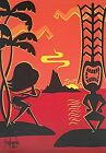 Clee Sobieski PRINT Hawaiian Tropical Tiki Hula Girl Retro Kitschy Sunset Beach