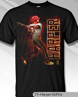 Philadelphia Phillies MLBPA #3 Bryce Harper ON FIRE Youth Boys Tee Shirt Black
