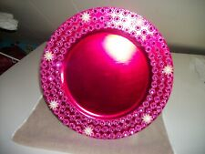 New listing 6Pc Fuchsia With Rhinestones Trim Plate Chargers