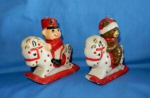 Vintage Wax Candles Rocking Horse w Soldier or Santa Bear - Unused