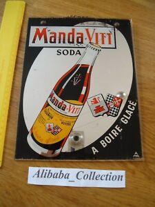 PLAQUE MIROIR Pub *** MANDA-VITT *** VITTEL SODA CUISENIER CROIX LORRAINE