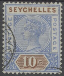 SEYCHELLES 1890 QV 10c Die I SG.4 vfu ⊙ (Combined shipping ≥ £1.15/order )