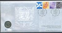 GB QEII  PNC COIN COVER 1999 A SCOTTISH PARLIAMENT FOR SCOTLAND £1 COIN B/UNC