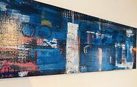 Abstract Art Original Acrylic Painting 100cmx30cm Deep Edge. Paul McEvoy