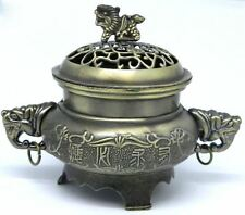 Chinese Yellow Bronze Metal Elephant Design Incense Burner Ornament My-2837