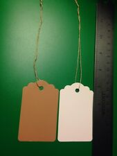 "LOT 500 Strung Price Tags 3¼"" x 2"" Kraft White Back String Scalloped Pricing Tag"