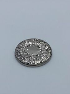 """Vintage Towle Sterling Silver Ornate Repousse Hand Pocket Mirror 3"""""""