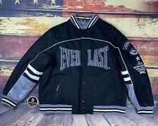 Mens Everlast Boxing Ringside Letterman Bomber Jacket Coat Black Gray Sz Large