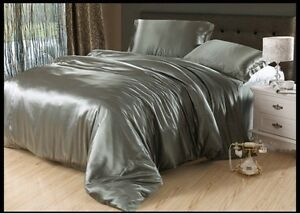 Satin Polyester Silk US Cal King Size Fitted/Flat Sheet, Sheet Set/Duvet Set