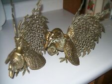 Vintage Brass Fighting Chickens or Game Cocks