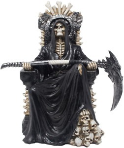 Evil Grim Reaper on Bone Throne Statue with Scythe and Skull Accents for Scary H