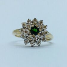Gems Tv 9ct Yellow Gold Russian Diopside & White Topaz Ring - Size N (With Coa)