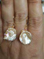 Natural KESHI baroque pink pearl dangle drop Earrings solid 9ct gold