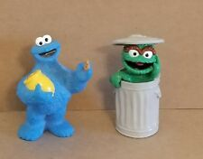 """Sesame Street Cookie Monster 3"""" Figure Holding Jar, Oscar the Grouch Garbage Can"""