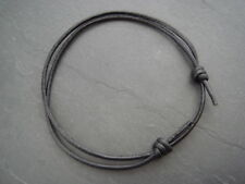 Adjustable 2mm black real leather cord ankle bracelet