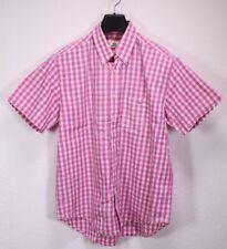HB316 Lacoste Herren Hemd Shirt weiß pink kariert Gr. M/40 Kurzarm Regular Fit