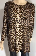 Leopard Print Tunic Top Stretchy Oversized Soft Silky Long Length One Size NEW