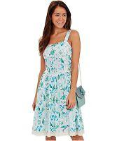 Size 16 Joe Browns Broderie Anglaise Bird Print Dress Women's/Aqua/Blue/NEW