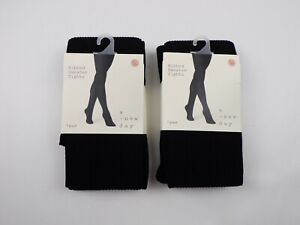 A New Day Womens Ribbed Sweater Tights Size L/XL Black 2 Pack