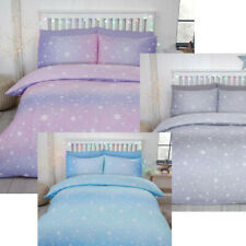 100% Brushed Cotton Stars 2 Sided Reversible Flannelette Duvet Cover Bedding Set