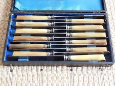 12 Antique French knives horn handles sterling silver ferrules signed TD PARIS
