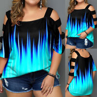 Plus Size Women Cold Shoulder T-Shirt Casual Loose Summer Tunic Tops Blouse Tee