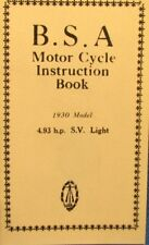 1930 B S A  Motor Cycle Instruction Book  4.93  H.P. S.V. Light  Illustrated