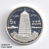 China 5 Yuan Leifeng Pagode in Hangzhou 1995 Silber PP - Silver proof