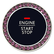 Auto Ignition Engine Start Button Cover Pink Bling Crystal Diamond Decal Sticker