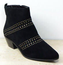 M&S Real SUEDE Studded CUBAN Heel ANKLE BOOTS ~ Size 6.5 WIDE ~ Black (rrp £79)