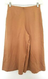 UNIQLO Ladies Designer Camel Brown Stretch Wide Cropped Leg Pants size 8 EUC