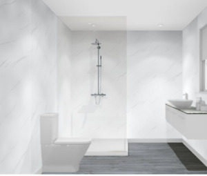 Shower Wall Panel White/Black MARBLE Wet Wall Splashpanel STRONGEST PVC BOARDS