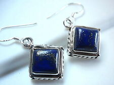 Lapis Earrings 925 Sterling Silver Dangle Rope Style Accented Perimeter New