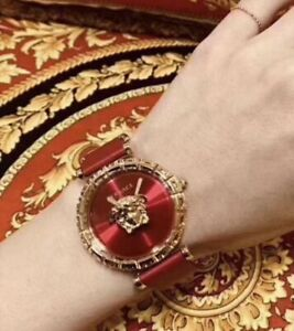 Authentic With Box Versace Palazzo Empire Red Dial Leather Strap Women's Watch
