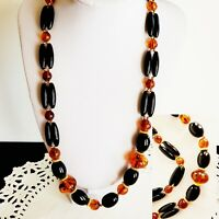 """Amber Lucite Beads Trifari Necklace 24"""" Chunky Black Beaded Gold Tone Vintage"""