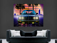 BMW M3 NEON CAR POSTER TRIPPY PSYCHEDELIC ABSTRACT WALL ART PRINT PALM TREES SUN