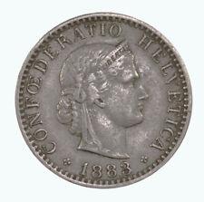 Raw 1883-B Swiss 20 Rappen Uncertified Ungraded Coin