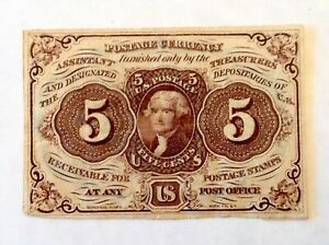 ~ FR 1231 5 CENTS FIRST ISSUE FRACTIONAL CURRENCY NOTE - W/O MONOGRAM