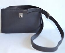 Etienne Aigner Small Shoulder Bag Womens Dark Gray Leather Evening Handbag Purse