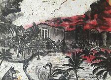 Eco-friendly ink wash painting of Lake Eola Downtown Orlando Florida