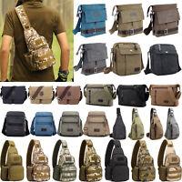 Men's Canvas Military Messenger Shoulder Bag Casual Travel Hiking Sling Backpack