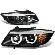 [LED U-Halo] Fit 2006-2008 BMW 3-Series E90 Black Housing Projector Headlights