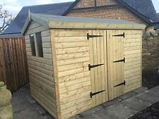 GARDEN SHED TANALISED HEAVY DUTY 10X8 APEX 13MM T&G.  3X2.
