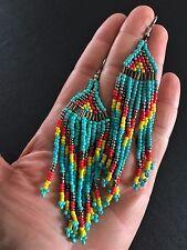 Earrings Big Long Hoop Tassel Beaded Hippie Bohemian Boho Tribal Gypsy A1113