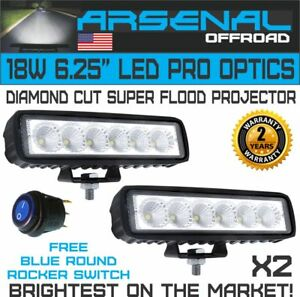 2X 6 INCH 18W LED WORK LIGHT BAR FLOOD BEAM OFFROAD DRIVING FOG 4WD LAMP UTE SUV