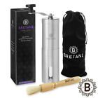 Manual Coffee Grinder Stainless Steel, Hand Crank, Conical Burr Mill for Beans